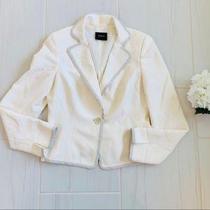 AKRIS Cream Single Button Wool Blend Blazer